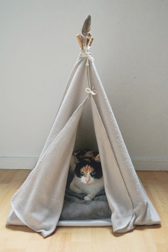 diy tipi pour chats par fabien les bons moments pour hi love magazine chat pinterest. Black Bedroom Furniture Sets. Home Design Ideas