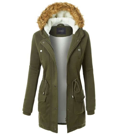 LE3NO Womens Long Fleece Faux Fur Lined Hoodie Parka Coat Jacket ...