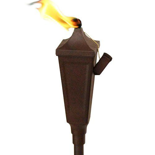 """Festive Metal Tiki Torch with Pole & Snuffer - Weathered Brown by Legends Tiki Lifestyle. $29.99. Fiberglass wick Removable top for easy refilling Holds 16 ounces of fuel   Torch Head Size: 3-1/4"""" w x 10-1/2"""" h Pole Height: 51-1/2"""" Total Height: 62"""" Pole Diameter: 1"""" Wick Size: 1/2"""" Fuel Capacity: 16 Ounces. Save 30%!"""