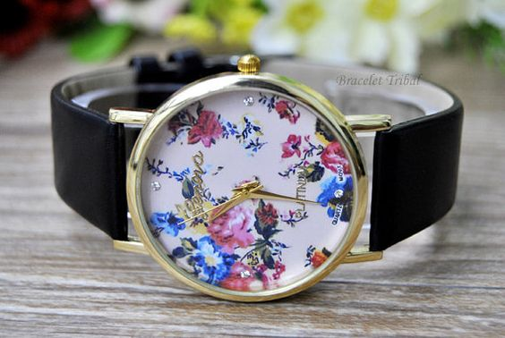 Personalized leather wrist watches,best friendship gift. Floral Watch Flowers Watch Vintage Style Leather by BraceletTribal, $3.99