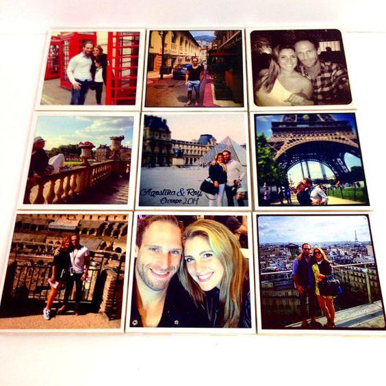 Instagram Photo Ceramic Coasters handmade Best bridal shower gift Engagement present or anniversary present house decor Set of 9