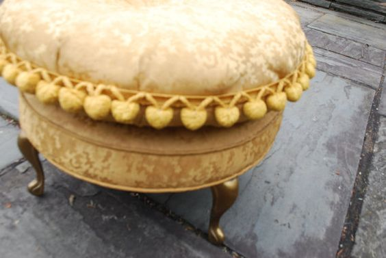 Vintage Gold Brocade Foot Stool  Hollywood Regency by Chronologies, $110.00