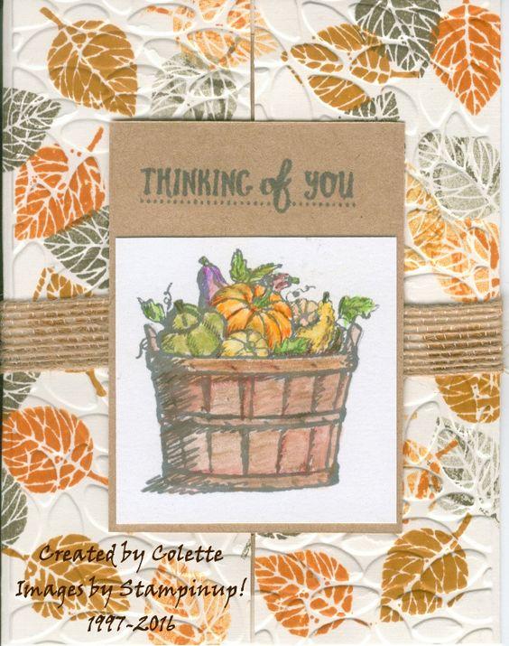 New set in the Holiday catatlog:  Basket of Wishes Ink, :  Archival Gray, Pumpkin Pie, D. Dijon, A. Artichoke CS: Shimmer, Kraft, Vanilla Accessories: 5/8 Burlap ribbon, dimensionals, Big Shot, Petal Burst TEF coloring with watercolor pencils