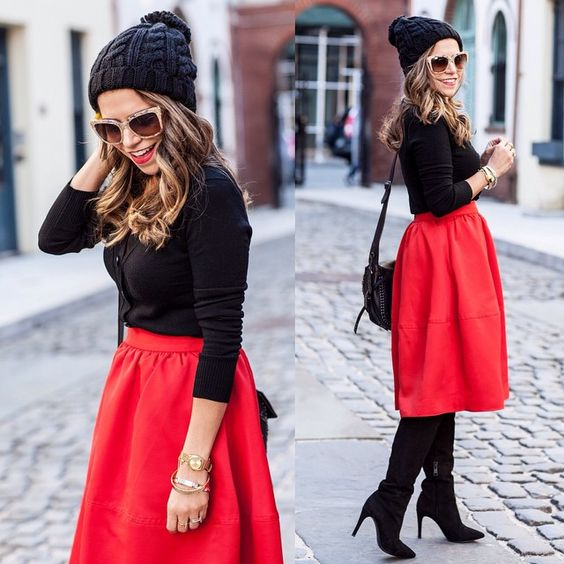 One of my favorite looks over the holidays. Black beanie + Red midi skirt |  by @lydiahudgens