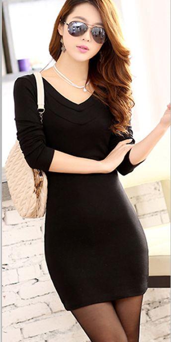 women fashion - Dresses - Long Sleeve Dresses - Women&39s Simple ...