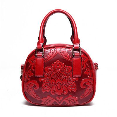 Vintage Embossed Flowers Handbags Women Chinese Style Shoulder Crossbody Bag High Quality Leather Floral Print Evening Bags Sac