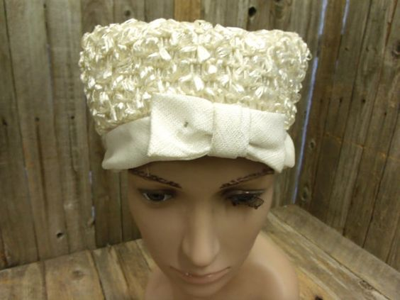 Ladies Antique Off White Church Hat Straw w by PoisonPuddingFaire, $19.95