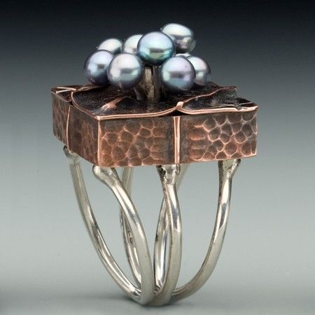 pearl rings metals and copper on