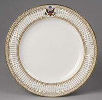 State dinner, dessert, and breakfast service for Theodore Roosevelt (President 1901-1909)--Dinner Plate/Made in Etruria, Stoke-on-Trent, Staffordshire, England, Europe c.1903--Made by Wedgwood factory, Etruria, England, 1759 - present. Imported by Van Heusen Charles Company, Albany. Porcelain with printed, enamel, and gilt decoration. Diameter: 10 1/4 inches (26 cm)