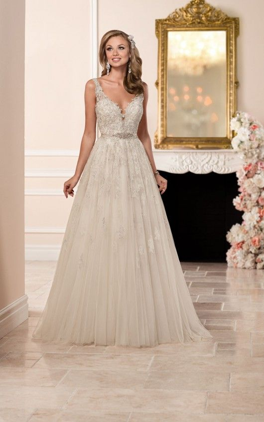 Stella York bridal gown.....6291 A-line Wedding Dress.  Plunging neckline with a plunging back....#brides2017 dream dress...ivory/moscato/silver.  takes.  my.  breathe. away
