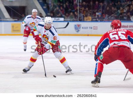 MOSCOW - MARCH 12: T. Huhtala (61) versus B. Kiselevich (55) on hockey game Yokerit vs CSKA on Russia KHL championship on March 12, 2015, in Moscow, Russia. CSKA won 3:2 http://www.shutterstock.com/pic.mhtml?id=262060841  #action, #active, #arena, #competition, #continental, #cska, #defender, #game, #helmet, #hockey, #huhtala, #ice, #khl, #kiselevich, #kontinental, #league, #men, #moscow, #offencive, #rink, #russia, #skate, #sport, #sportsmen, #stadium, #stick, #tournament, #uniform…