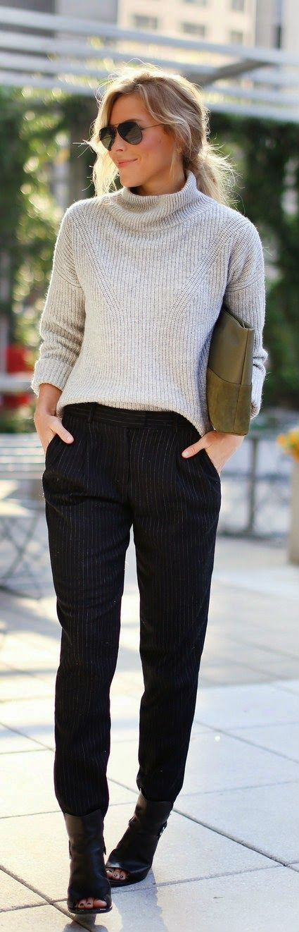 Work attire | cropped sweater | harem pants | booties | low bun