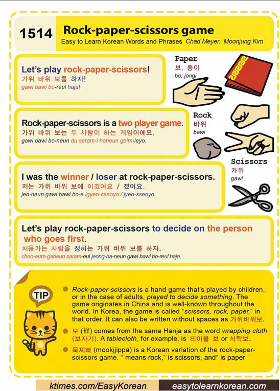 Easy To Learn Korean 1514 Rock Paper Scissors Learn Korean Korean Lessons Learn Korea