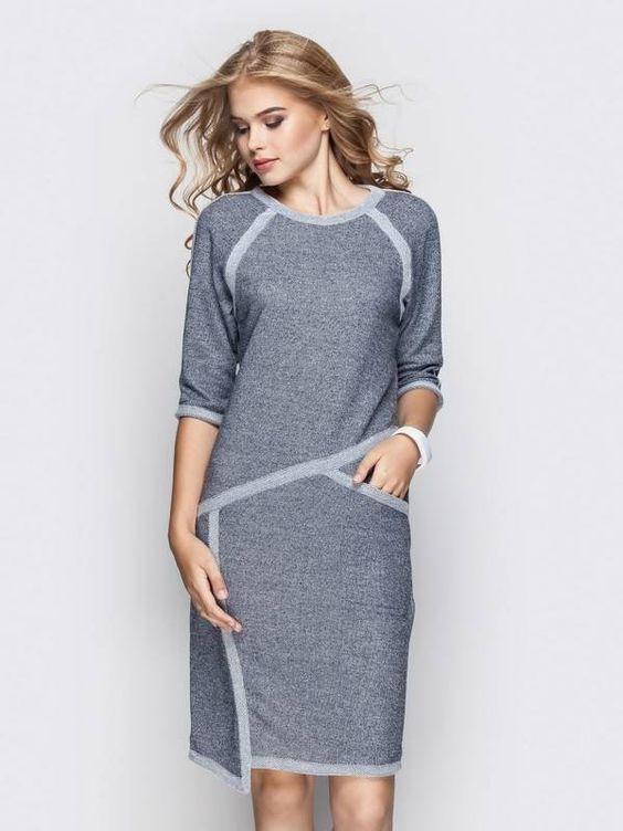 Модный Остров Платье Голубой Аливия 19074 Осень 2017, размер 46 (335554_46)