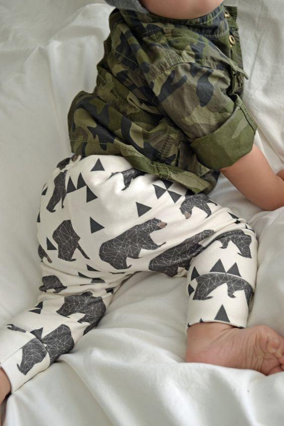 organic cotton leggings in geometric bear, baby leggings, gender neutral, modern clothing on Etsy, $34.00