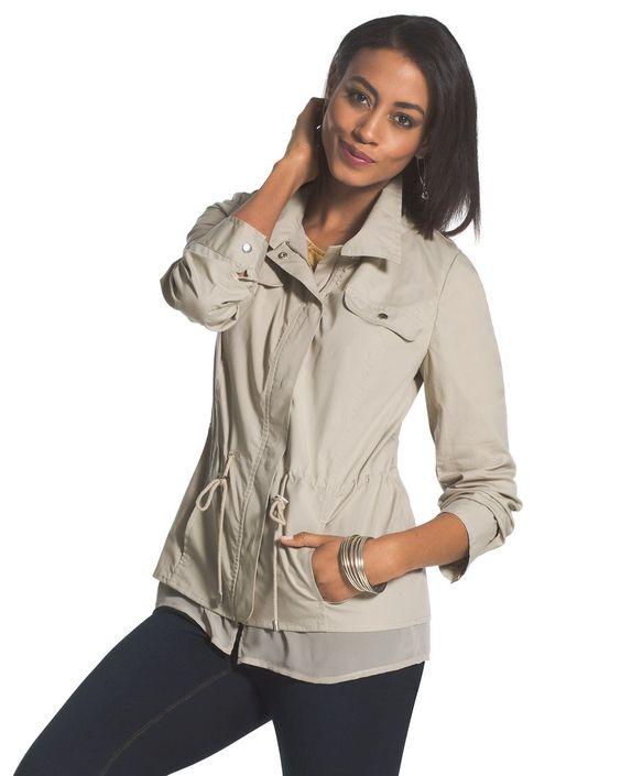 Chico's Women's Chiffon Trim Jacket, Tibet Taupe, Size: 4 (20/22 XXL)