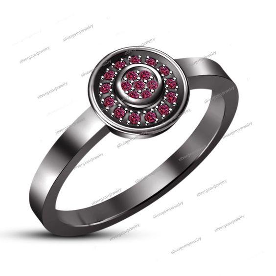 Pink Sapphire 925 Silver 14k Black Gold Finish Engagement & Wedding Women's…