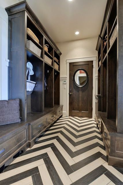 Fantastic #entryway with chevron wood flooring details! #modern: