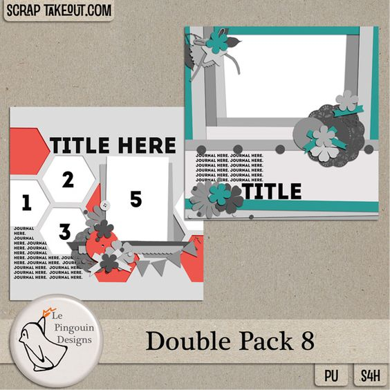 Double Pack 8 by Le Pingouin Designs http://scraptakeout.com/shoppe/Double-Pack-8.html