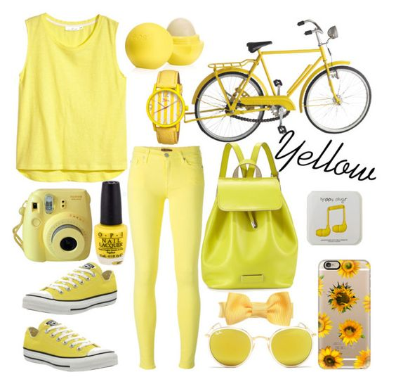"""""""Yellow bike ride❤"""" by outfits-1d-outfits ❤ liked on Polyvore featuring H&M, 7 For All Mankind, Eos, Converse, Ray-Ban, Marc by Marc Jacobs, Casetify, Boum, Happy Plugs and women's clothing"""