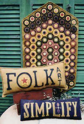 Primitive Folk Art Home Penny Rug Pillows Wool Applique Rug Hooking Pattern