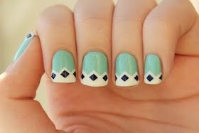 Light Green/Black Triangle French Tip
