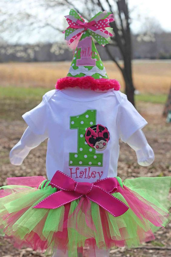 6 Piece set - Pink Ladybug Birthday Shirt or Onesie , Bib, Party Hat, Tutu, Bloomers and Hairbow via Etsy