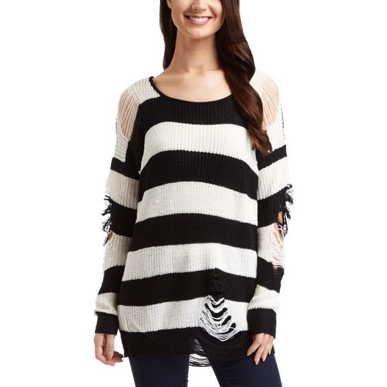 The Classic Black  White Stripe Distressed Sweater ($17) ❤ liked on Polyvore featuring