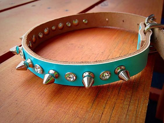 Studded Spiked Genuine Leather Dog Collar with Rhinestone Detail - Medium Seafoam Blue by ToxifyDesigns on Etsy