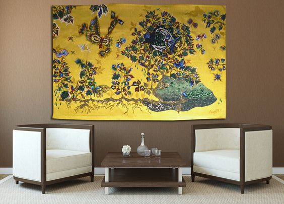 Les giboulées,  tapisserie d'Aubusson tissée par l'atelier Pinton. Avec son bolduc  signé de l'artiste. 1963.    L'Œuvre de Lurçat est immense : c'est toutefois son rôle dans la rénovation de l'art de la tapisserie qui lui vaut d'être passé à la postérité. Dès 1917, il commence par des œuvres au canevas, puis, dans les années 20 et 30, il travaillera avec Marie Cuttoli. Sa première collaboration avec les Gobelins date de 1937... Lire la suite sur www.latapisserie20e.com
