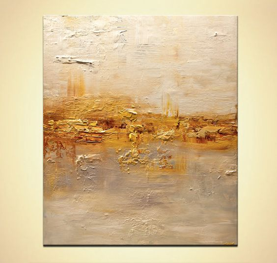 Modern textured acrylic abstract painting gold by for Textured acrylic abstract paintings