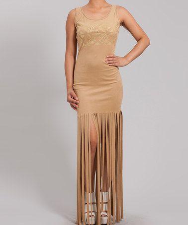 Look what I found on #zulily! Camel Tribal Fringe Scoop Neck Dress - Women #zulilyfinds