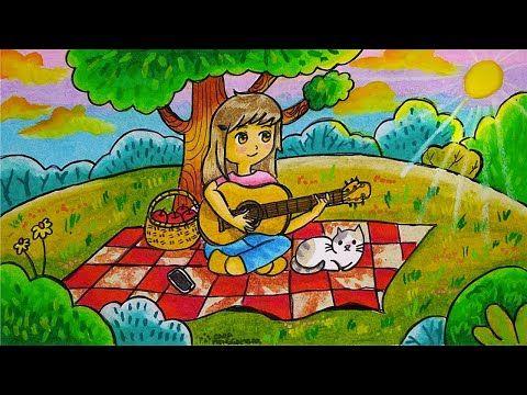 Cara Menggambar Dan Mewarnai Tema Bermain Musik Gitar Di Taman Yang Bagus Dan Mudah Untuk Pemula Youtube Cara Menggambar Seni Gambar