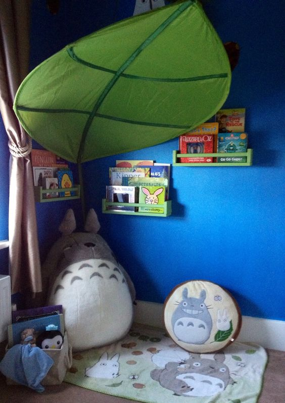 Totoro nursery, studio ghibli, reading nook, homemade for our baby : ) kids!- I want to put a leaf like that over the crib. Maybe with a mobile hanging from the end!