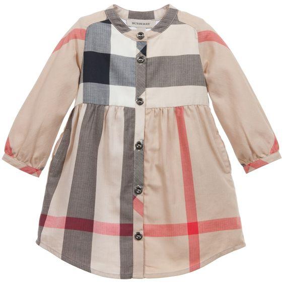 Beige Classic Check Cotton Dress, Burberry, Girl