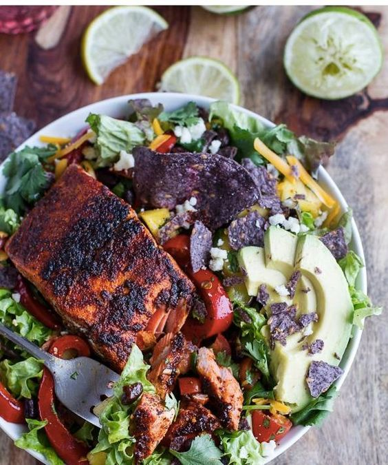 Chili lime salmon fajita salad with cilantro lime vinaigrette - 35 salads for when it's too hot to turn on the oven on domino.com