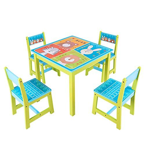 Fdinspiration 5pcs Non Toxic Cartoon Pattern Kids Table Set Desk Furniture W 4 Chairs With Ebook Best Dining Ta Kids Table Set Baby Table Table And Chair Sets