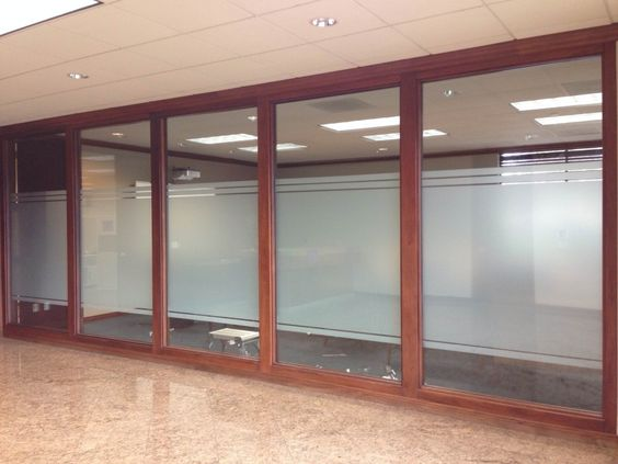 Decorative frost window film installed for privacy in - Interior window tinting for privacy ...