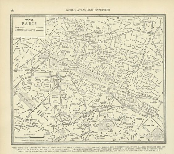 Vintage Street Map Paris France from 1937 Original – Map of Paris France Streets