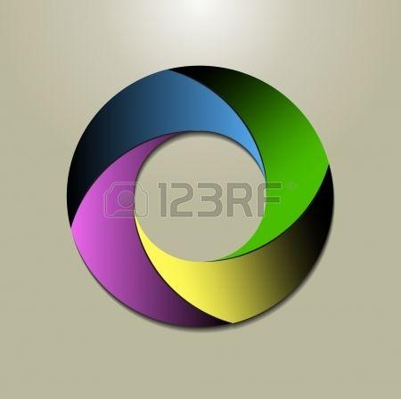 a circular logo design in four colours Stock Vector