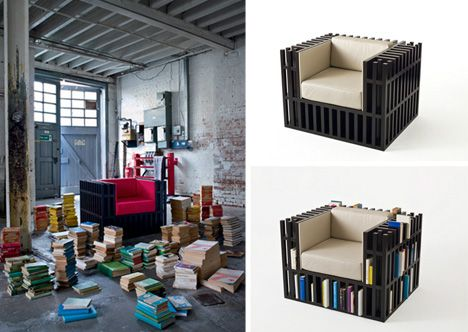 Bookcase + Chair Hybrid Now with New Mini-Shelved Ottoman