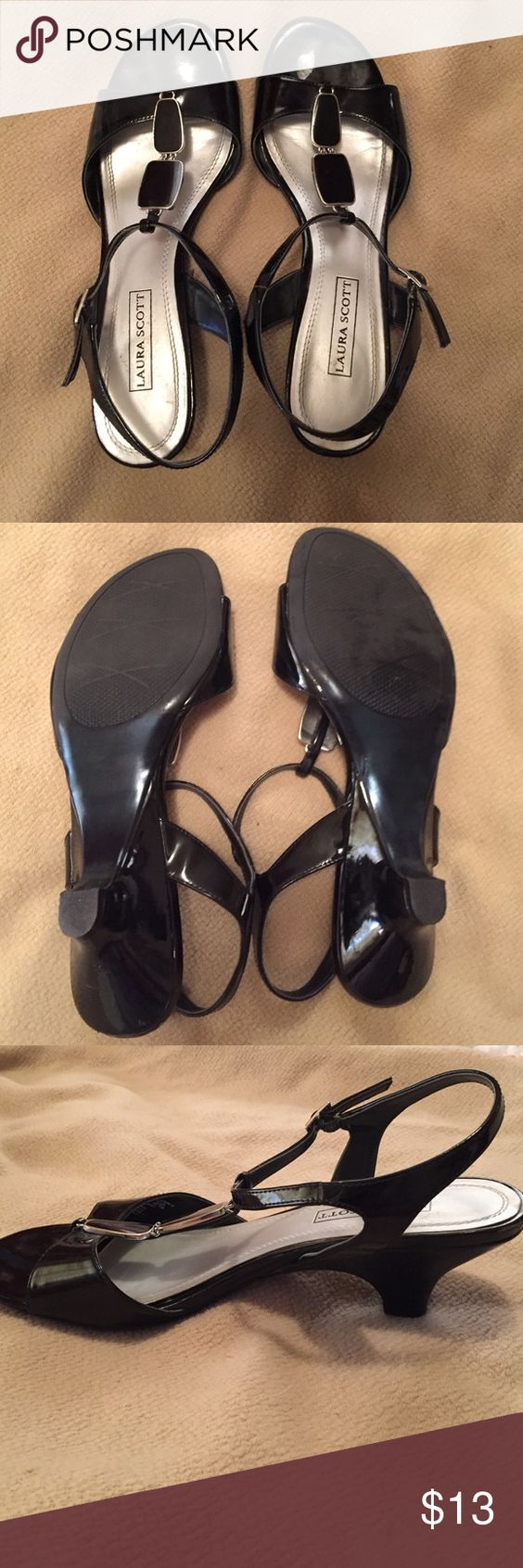 Laura Scott Heels Super cute and COMFORTABLE black heels with black and silver top detail. Heel measures one inch. Pair with a dress or capris. Worn once. Laura Scott Shoes Heels
