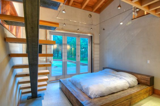 bedroom- timber bed
