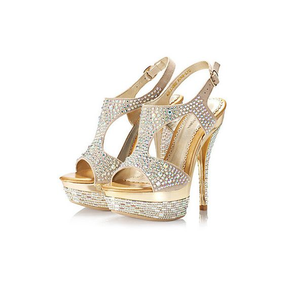 couro real stiletto heel peep toe / plataforma com sapatos de... via Polyvore