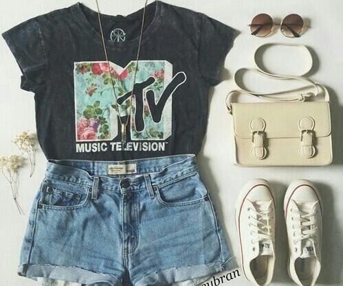 MTV outfit #indie, sunglasses, moda - satchel #denim shorts - #followers - mtv - style - #grunge