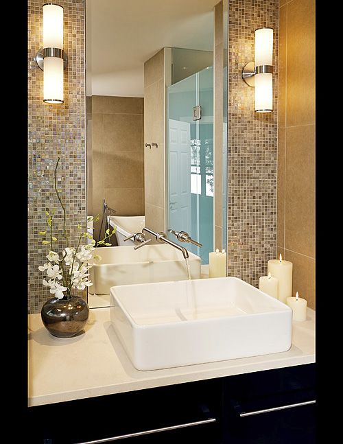 like the use of the mirror use less sheets of mosaic tiles for a focal wall some glass mosaic tile can be rather expensive