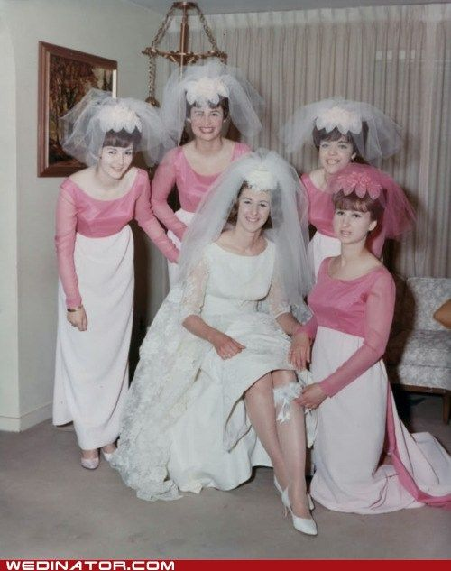 Bride and her attendants, 1960s.:
