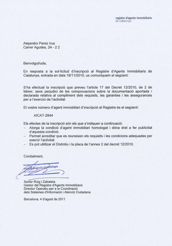 2010 Certificat Agents Immobiliaris de Catalunya AICAT para Alejandro Perez Irus Formador Mentoring Formacion AlejandroPI Certificado Homologación Agente Inmobiliario de Cataluña