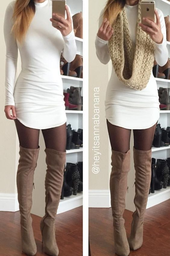 Dress is very cute, unlike the color of the panty-hoes ... Thigh highs boots YES