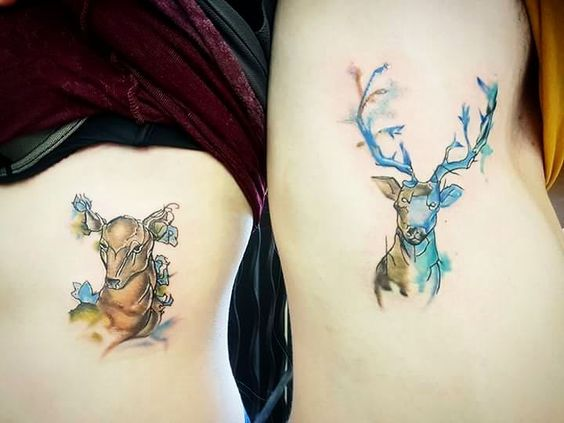 Not sure I posted this but a long time ago I hinted at the his&her designs I made for my brother and my new sister... and here they are done 😜 #tattoos #watercolourtattoos #hisandhertattoos #staganddoetattoos #stag #deer #watercolourstag #weddingtattoos #tattoodesign